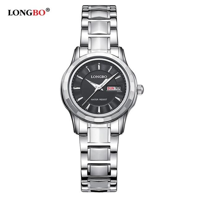 LONGBO Luxury Lovers Couple Watches Men Date Day Waterproof Women Gold Stainless