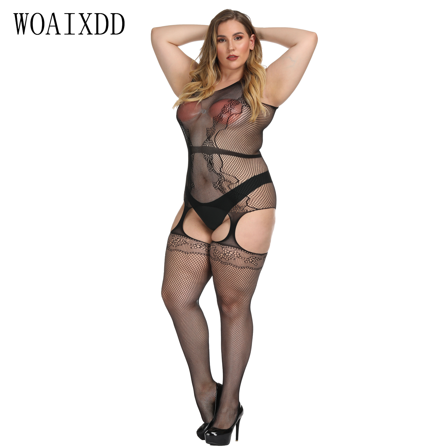 8 Styles XXXL Plus Size Bodysuits Women Erotic Sexy Lingerie Hot Bodystocking Costumes Open Crotch Babydolls Erotic Underwear