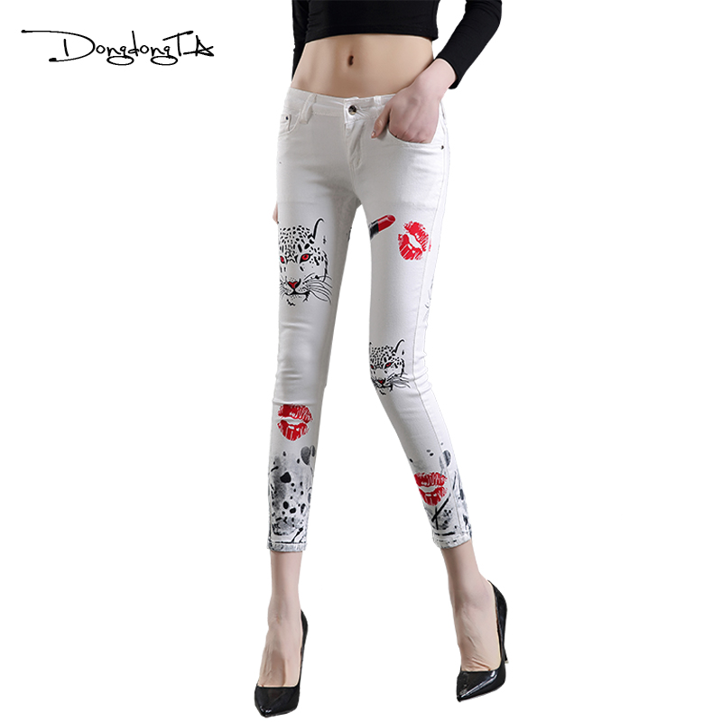 Dongdongta Young Girl Women Skinny Fashion Jeans Pencil Pants 2017 - Women's Clothing
