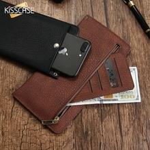 Kisscase Универсальный кошелек чехол для iPhone 5 5S SE 6 6 S 7 7 плюс кожа Кора зерна чехол для Huawei Mate 9 Xiaomi Redmi 4 Pro Mi5