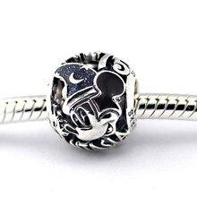 Se adapta a Pandora Charms pulsera plata 925 feliz navidad Mickey DIY moda joyería venta al por mayor