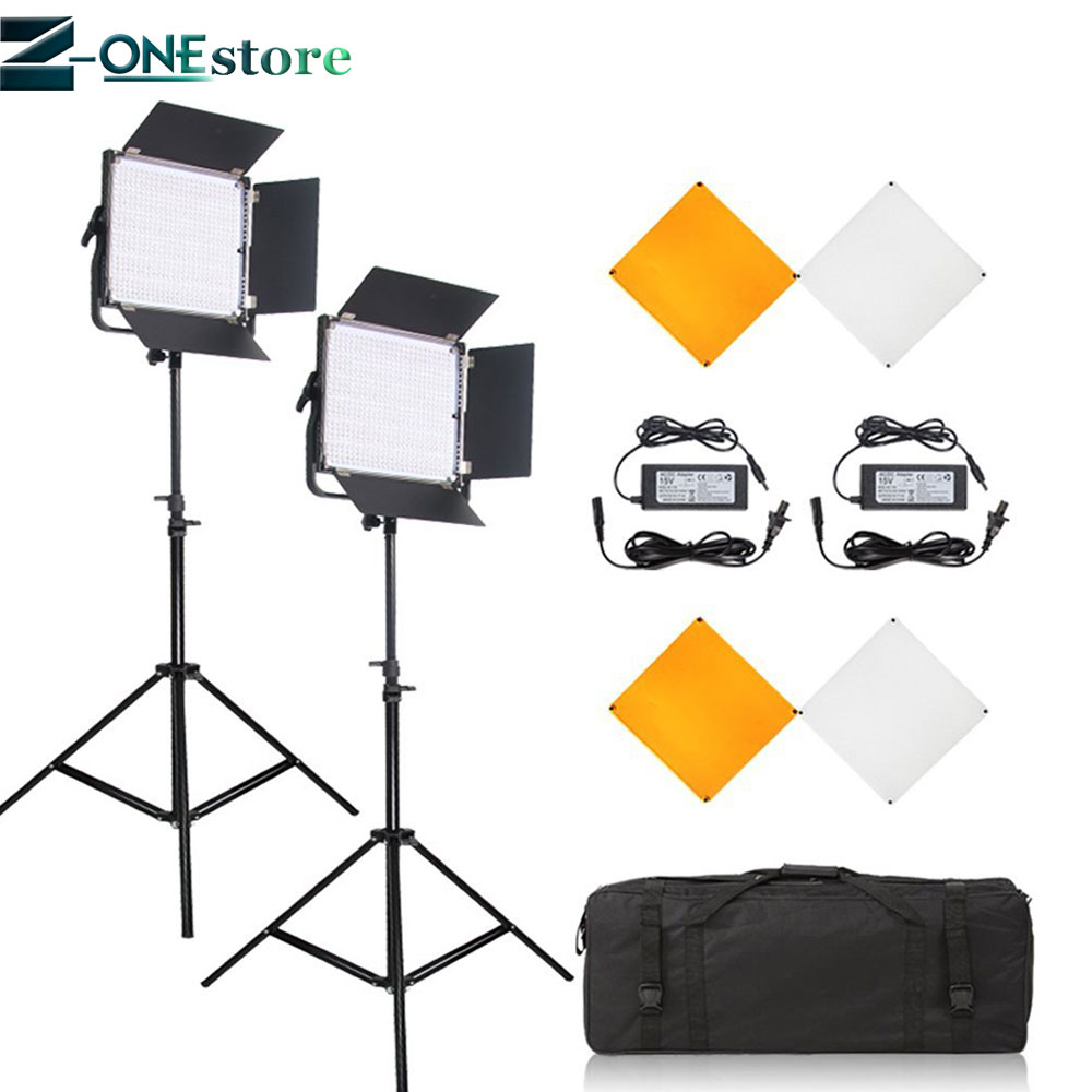 PIXEL 2Pcs K80 2 4G Wireless Transmission LED Video Light Dimmable with Lighting Stand Kit for