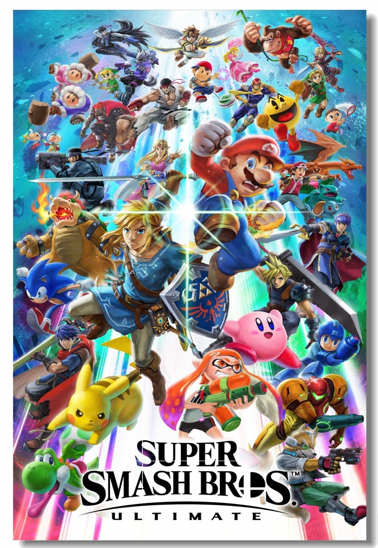 Us 559 30 Offcustom Canvas Wall Decals Super Smash Bros Wiiu 3ds Poster Super Mario Zelda Game Wall Stickers Mural Kids Room Wallpaper 0491 In