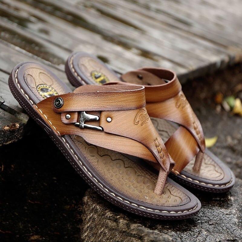 de praia couro rachado sandália sapatos lazer