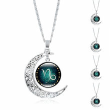 Fashion necklace women men blue Silver Twelve Constellations Charm Glass Dome Moon Pendant Necklace jewelry choker(China)