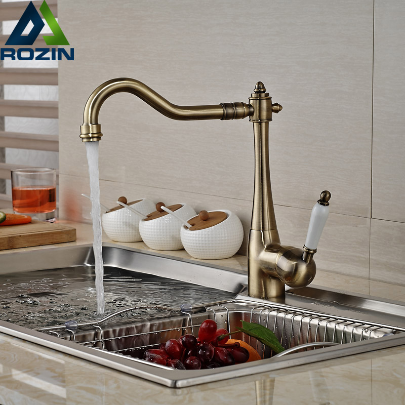 Antique Bronze Single Handle Kitchen Faucet Rotation Neck One Hole Hot Cold Kitchen Mixer Taps itas9923 manufacturers specializing in the production of hot and cold taps antique faucet antique single type leaderkitchen mix