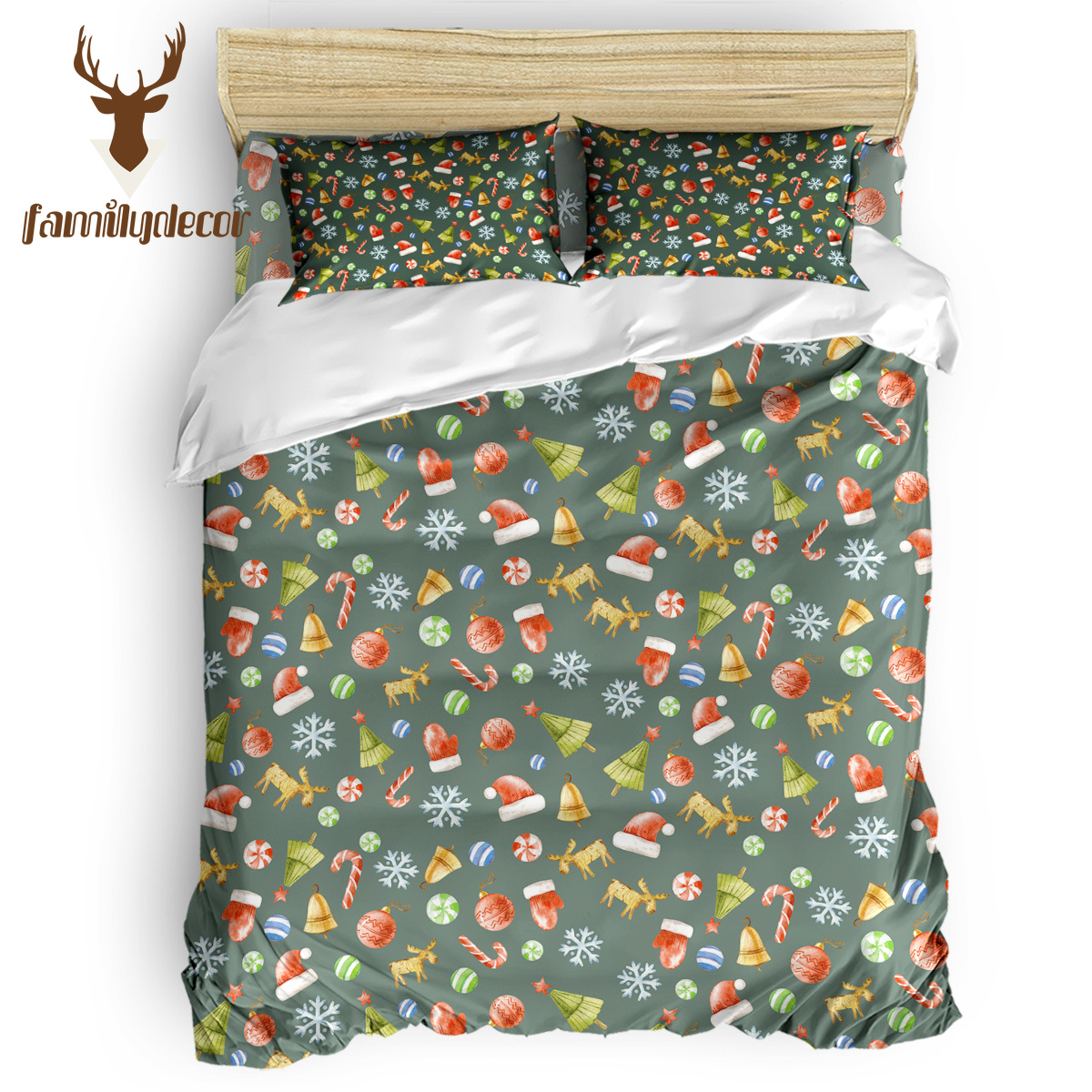 Family Decor Merry Christams Happy New Year Santa Snonwman Present Bedding Sets Duvet Set Covers 3 Piece Bedding Sets National