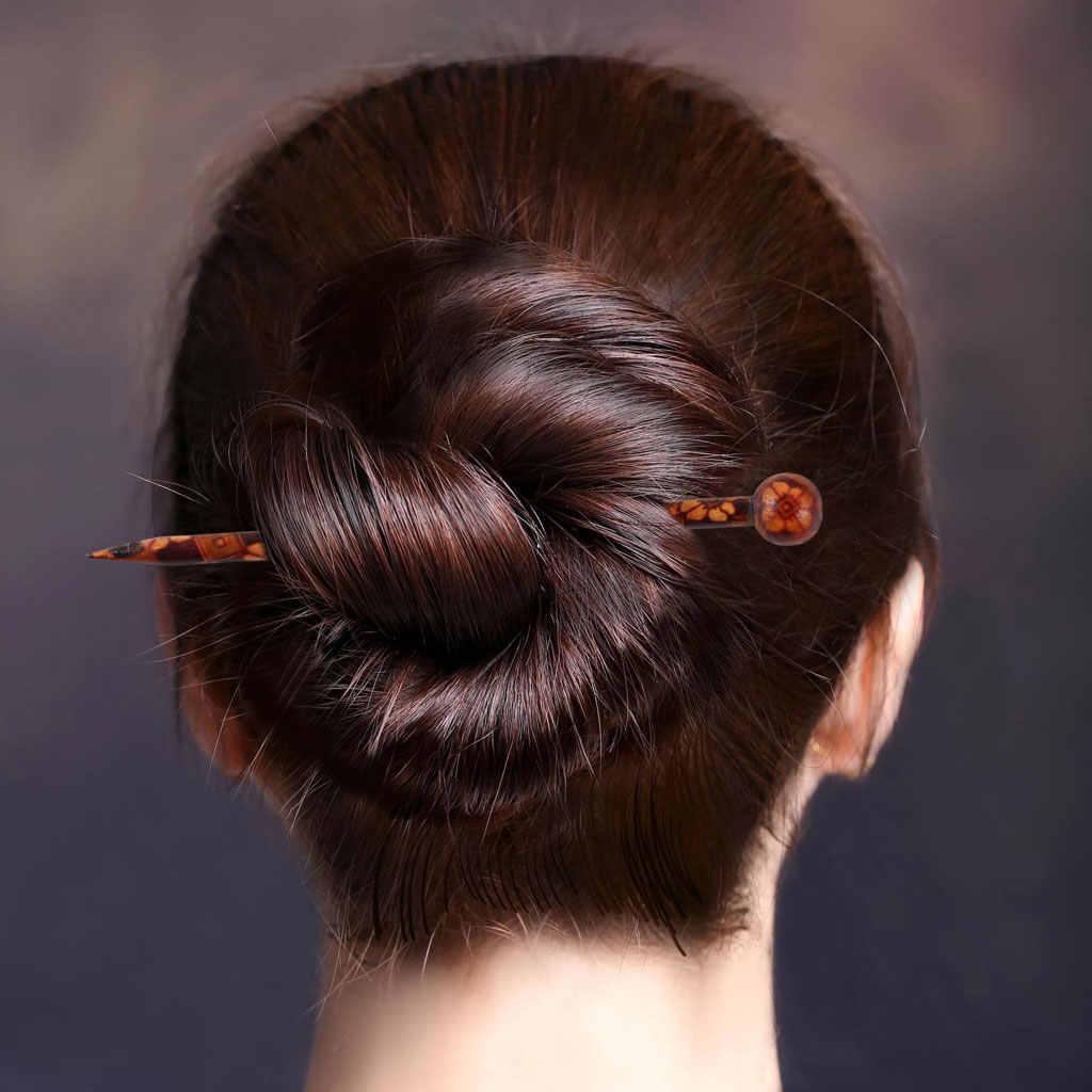 6 pieces 5.11'' retro hair sticks printed wood hairpin chopsticks wooden hairpin needle headwear jewelry accessorie