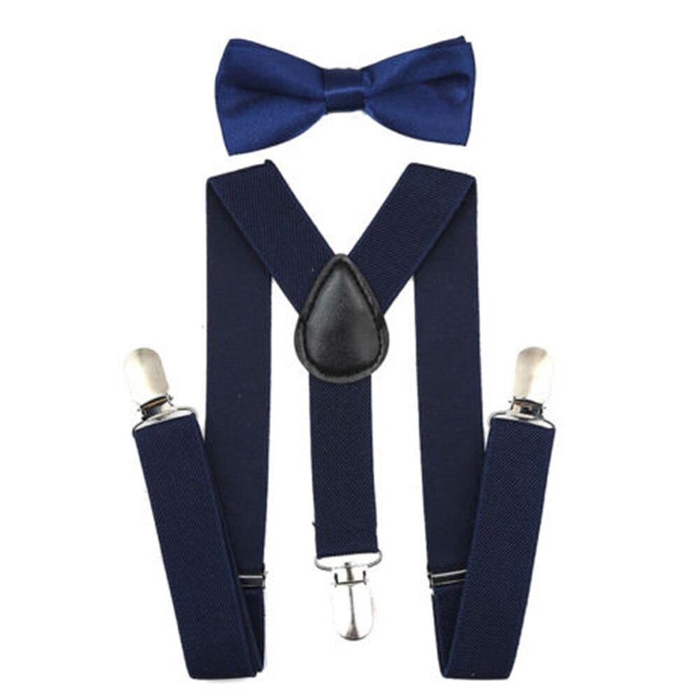 Регулируемая мода мальчиков хлопчатобумажный галстук вечерние галстуки подарок высокое качество для маленьких мальчиков малышей бабочка галстук-бабочка+ на подтяжках комплект одноцветное Цвет - Цвет: Dark blue