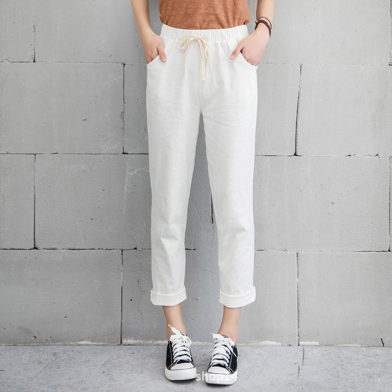 New Women Casual Harajuku Spring Autumn Long Trousers Solid Elastic Waist Cotton Linen Pants 27