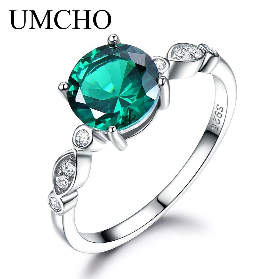 UMCHO Gemstone Emerald Silver Ring Solid 925 Sterling Silver Rings For Women Wedding Band Birthstone Fine Jewelry Wedding Gift