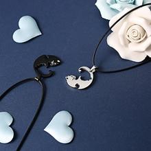 Fashion 2 PCS/set Lovers Necklace Jewelry Yin Yang Tai Chi Cat Pendant Couples Necklaces&Pendants Unisex Best Friends Gift