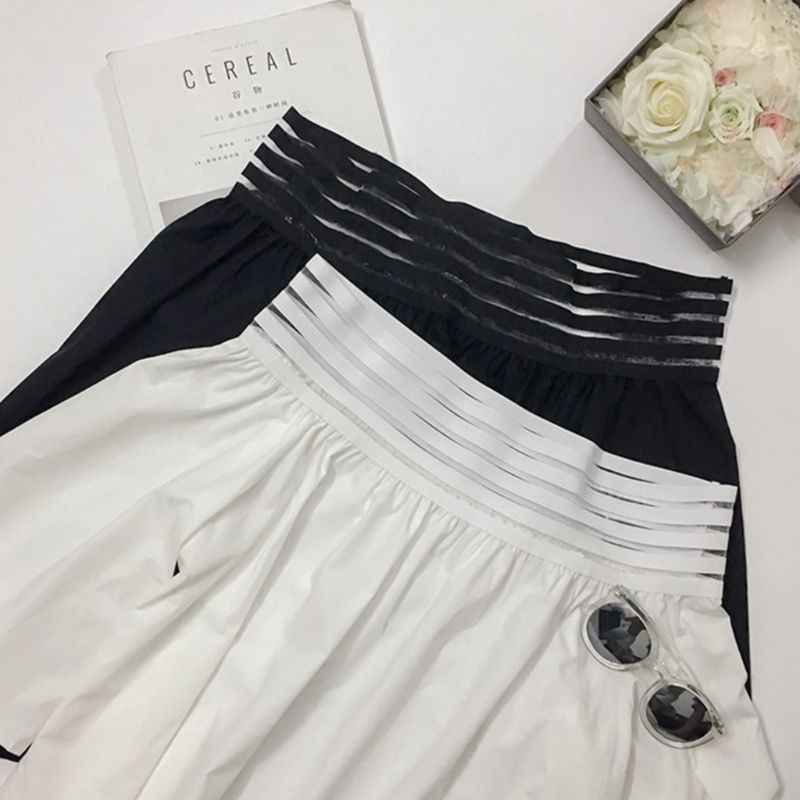 Women Spring Summer Sexy Off The Shoulder T-Shirt 5 Rows Anti-Slip Rubber Band Pullover Tops 3/4 Flare Sleeves
