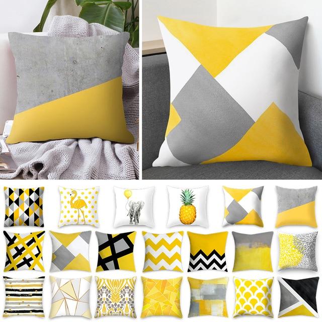 Urijk 45x45 cm Màu Vàng Sọc Gối Hình Học Throw Cushion Gối In Bìa Đệm Gối Trường Hợp Phòng Ngủ Văn Phòng