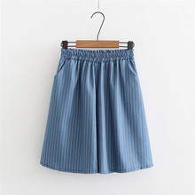 Summer 2019 Thin Denim Striped Five-minute Shorts Korean Version Loose High Waist Casual Wide-legged Student Japan Skirt Shorts цена и фото