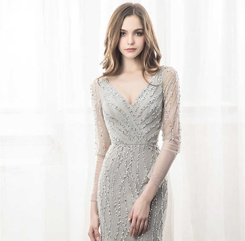 Luxury Grey Crystal Beading Tulle Vestidos De Norche Sexy Backless Pleated  Mermaid Formal Long Evening Dresses 78510716cbfd