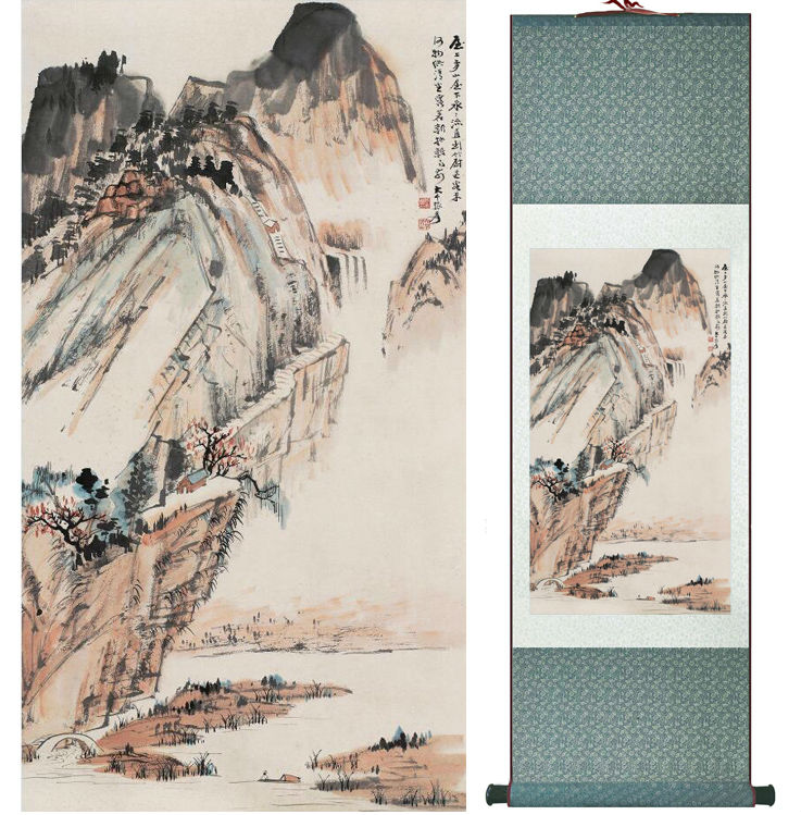 Zhangdaqian Mountain and River painting Chinese scroll painting landscape art painting home decoration painting 0402026