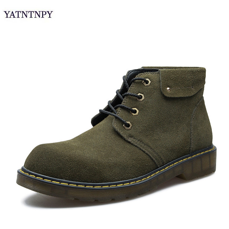 YATNTNPY Genuine Leath Autumn Winter leather Boots with fur Vintage Style Men Shoes Casual Fashion High-Cut Lace-up Warm shoes genuine leather men casual shoes wool fur warm winter shoes for men flat lace up casual shoes men s flat with shoes fashion