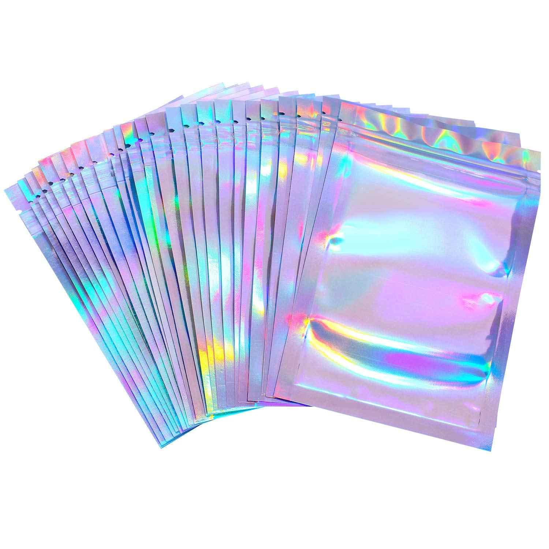 Sacs plats fermeture éclair pour sel de bain, cosmétiques 100 unités holographiques à Laser transparent d'un côté Mini-feuille d'aluminium à fermeture à glissière sacs en plastique épais
