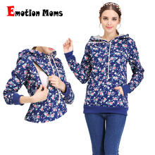 Emotion Moms 100% cotton Winter Maternity Clothes T shirt Breastfeeding tops Maternity Hoodie sweater for Pregnant Women