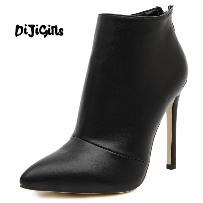 women pumps high heels boots shoes woman pointed toe wedding party dress stiletto ladies short ankle boots size 35-40 цены онлайн