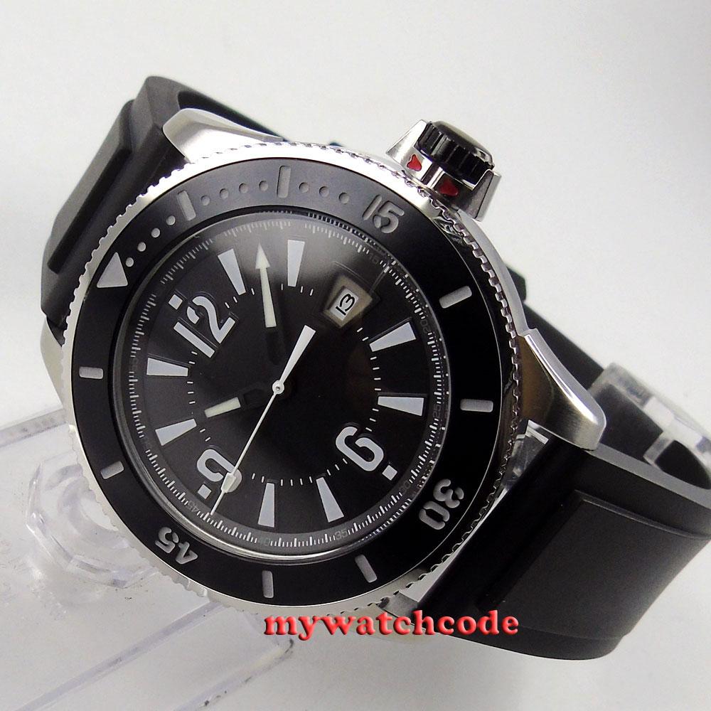 43mm BLIGER black dial luminous ceramice bezel date automatic mens watch 1