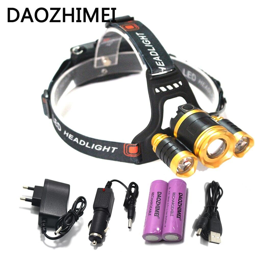 10000LM LED 3 * T6 Zoom Étanche Phare de Phare Zoomable Tête Lampe d'éclairage Lumière lampe de Poche Torche + 18650 batterie + chargeur
