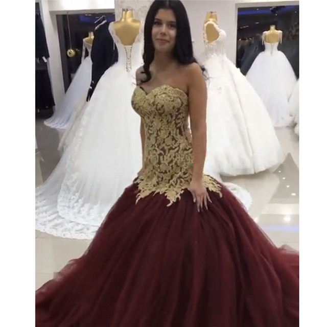 Gold Sweetheart Bridal Gown