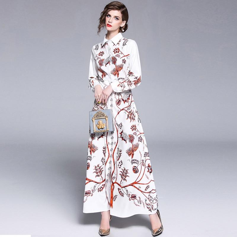251036fde56ad9 2018 Blanc K5305 Manches Partie Jurk Automne Dames Zomerjurken Femme  Longues Robe Longue Femmes Impression Zomer ...
