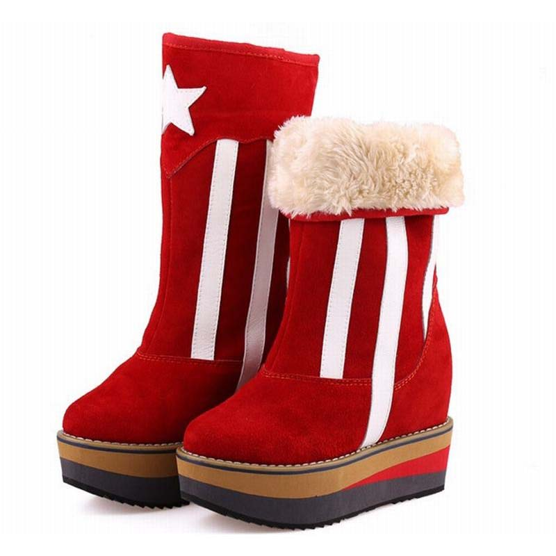High quality genuine leather mid-calf boot winter slip-on warm snow boots women suede thick sole platform invisible wedges shoes sweet women s mid calf boots with slip on and suede design
