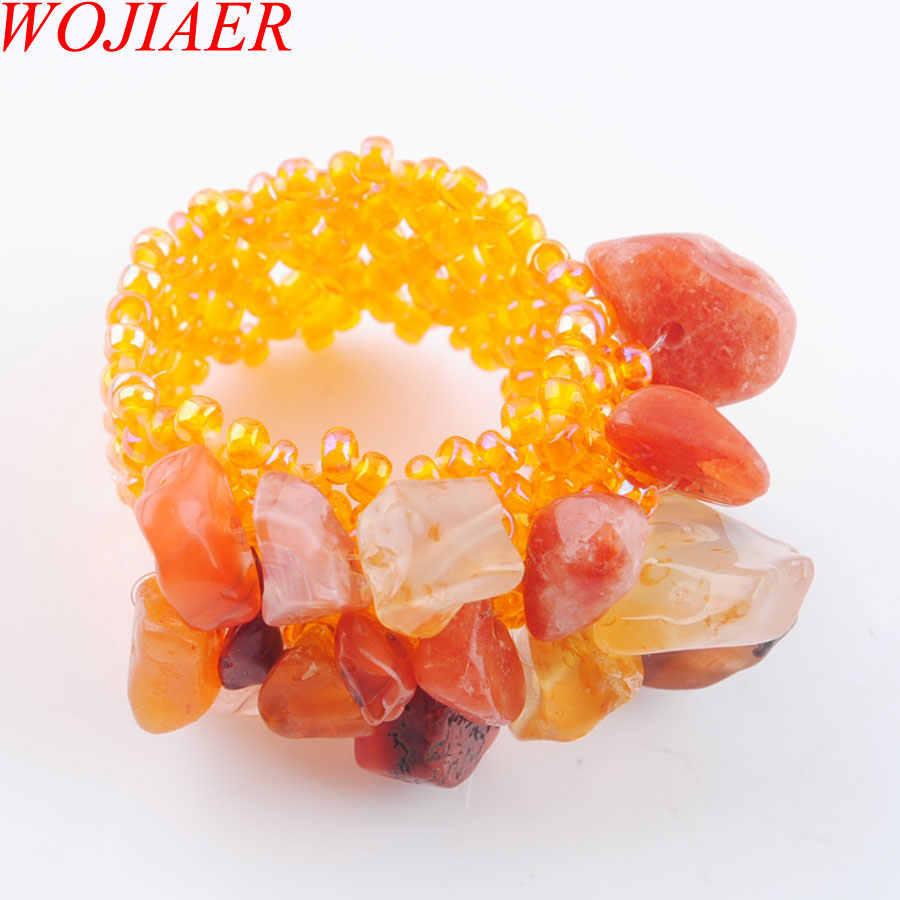 WOJIAER ธรรมชาติไม่สม่ำเสมอแหวนหินอัญมณีสำหรับสุภาพสตรี Agates ยืดออสเตรียแหวนเครื่องประดับ PJ3015