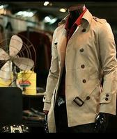 Medium Long Slim Sexy Trench Coat Men Double Breasted Overcoat Long Sleeve Mens Clothing Business Spring