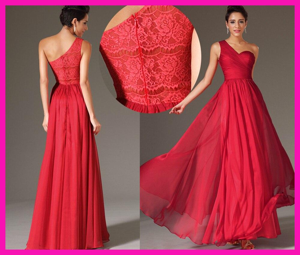 2014 Red One Shoulder Elegant Long Chiffon Lace Wedding Party   Bridesmaid     Dresses   B2164