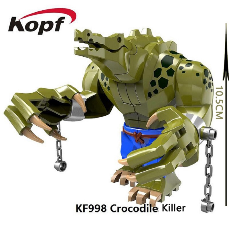 Single Sale KF998 10.5CM Big Size Super Heroes Crocodile killer The Batman Movie Dolls Bricks Building Blocks Children Gift Toys single sale building blocks super heroes bob ross american painter the joy of painting bricks education toys children gift kf982