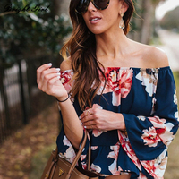 2017 Word Shoulder Speaker Sleeve Flower Chiffon Shirt Europe And The United States Foreign Trade Loose