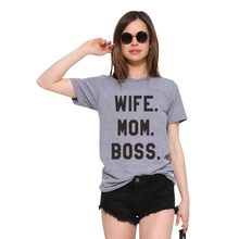 LUS LOS WIFE MOM BOSS Letter Printing Grey Women T-Shirt Summer New Short Sleeve Fashion