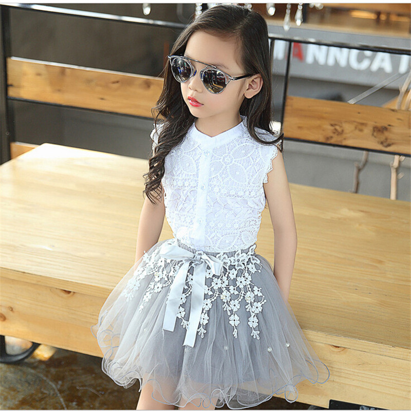 Youngsters Ladies Clothes Units 2018 Summer time New Model Ladies Garments White Lace Sleeveless T-Shirt+Veil Gown 2Pcs Kids Garments child woman clothes, model ladies clothes, ladies model clothes,Low-cost child...