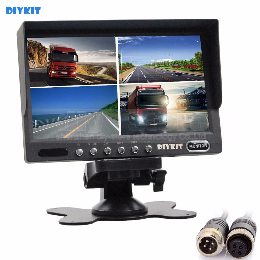 DIYKIT 4PIN DC12V-24V 7 Inch 4 Split Quad LCD Screen Display Color Rear View CCTV Monitor Video Security Monitoring diysecur 4pin dc12v 24v 7 inch 4 split quad lcd screen display rear view video security monitor for car truck bus cctv camera