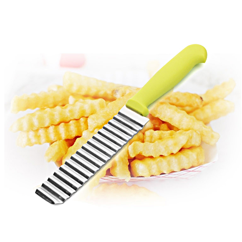 1Pcs Potato Wavy Edged Knife Stainless Steel Kitchen Gadget Vegetable Fruit Cutting Cooking Tool Accessories