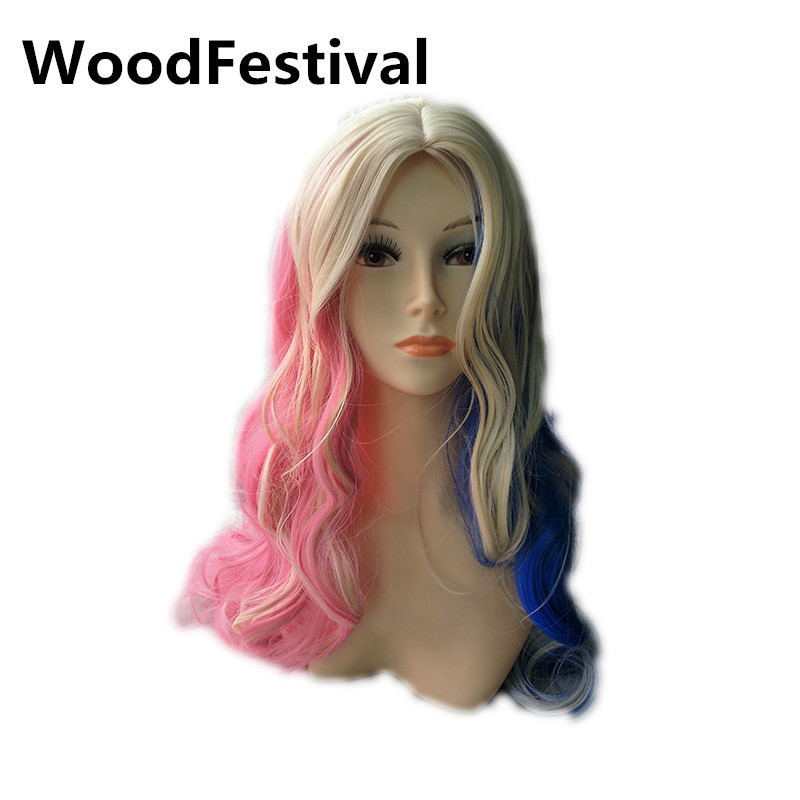 WoodFestival pink blue blonde wig cosplay curly wigs synthetic hair heat  resistant double ponytail wig long mix color wigs women a27c89373f6c
