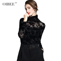 OIBEE Mesh Patchwork Women Floral Embroidery Long Sleeve Turtleneck Velvet Slim Sexy Shirt Retro Tops Tee