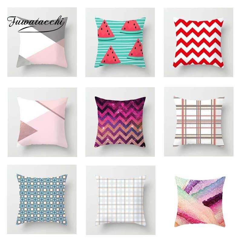 Fuwatacchi Colorful Geometric Cushion Cover Pink  Soft Throw Pillow Decorative Sofa Case Pillowcase