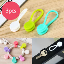 ET 3 Buah/Bungkus Magnetik Earphone Cord Winder Kabel Pemegang Organizer Acak Warna Multifungsi Magnet Earphone Kabel Winder(China)