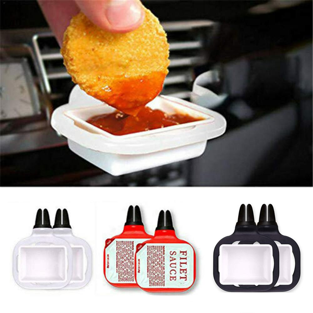 Clip Plastic Tomato Sauce Car Sauce Holder For Ketchup Dipping Sauces 2Pcs Portable for car accessories Salt Vinegar Sugar image