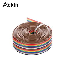 5M 1.27mm 20P DuPont Cable Rainbow Flat Line Support Wire Soldered Cable Connector Wire 20 pin For Arduino Diy Kit