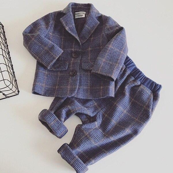0-8Y new 2018 spring boys plaid gentlemen Western-style blazer+pant clothing sets 2pcs boys full dress clothes sets ремни lee ремень gentlemen