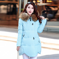 2016 winter new fashion solid color cotton cloak long Korean Asymmetric zippers fur collar coat female Women Down Winter Z1905