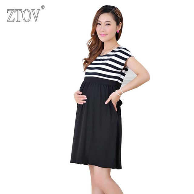 Ztov plus size mulheres de longo tarja vestidos de enfermagem da maternidade vestidos para mulheres grávidas senhoras das mulheres roupas mãe roupas k23