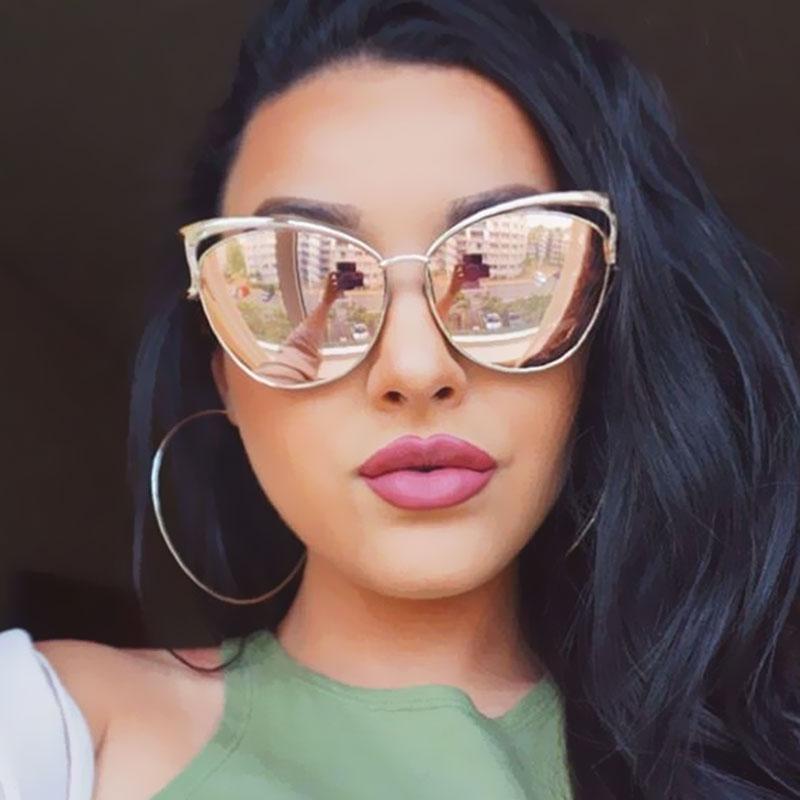 VictoryLip 2017 Fashion Cat Eye Rose Gold Mirror Sunglasses Women Brand Designer Metal Frame Lady Sun Glasses Cateye Female