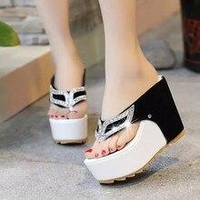 New 2019 Womans Slip On Sandals Flip Flops High Heels Slippers Summer Sliders Thick Bottom Slippers Platform Shoes Fashion Femme цена в Москве и Питере